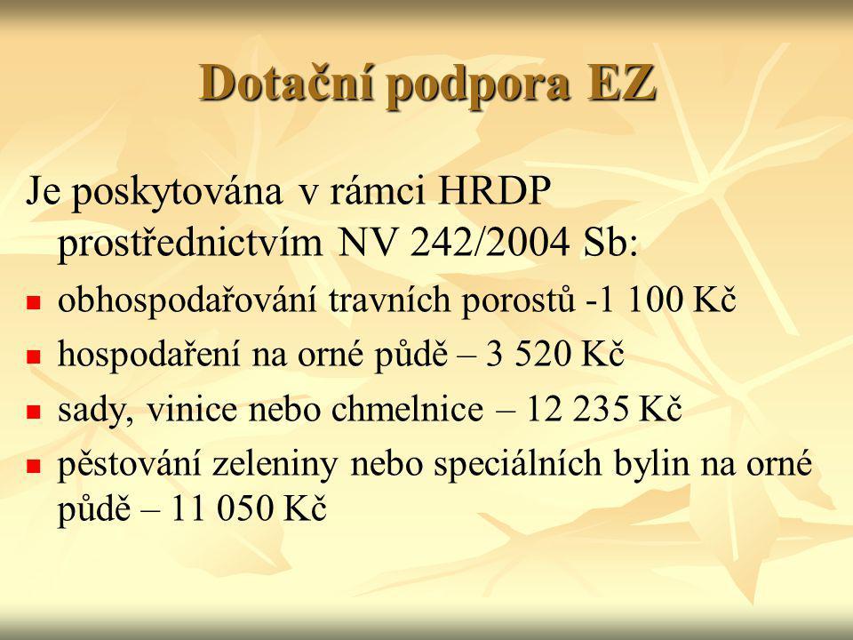 Dotační podpora EZ Je poskytována v rámci HRDP prostřednictvím NV 242/2004 Sb: obhospodařování travních porostů -1 100 Kč.