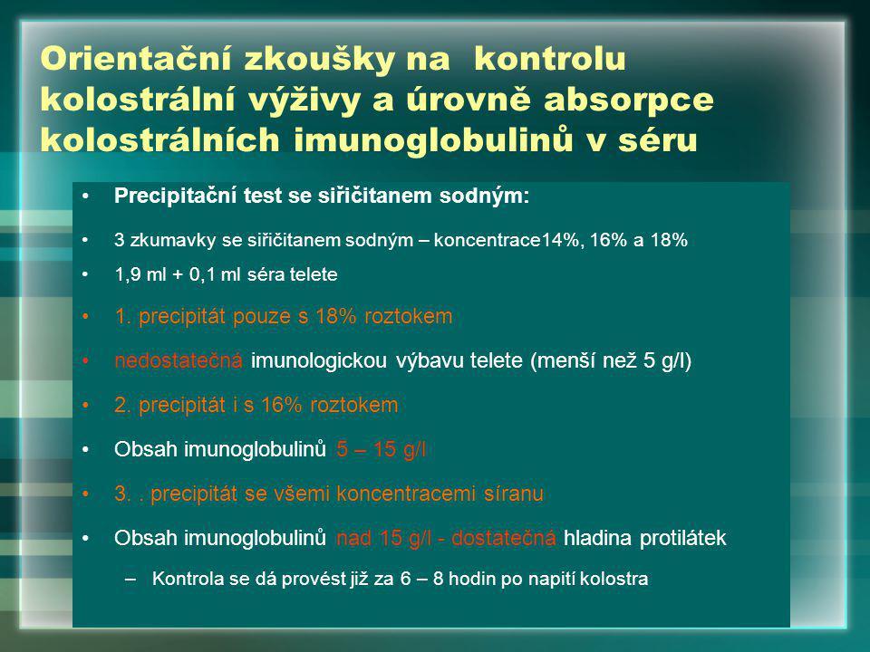 Orientační zkoušky na kontrolu kolostrální výživy a úrovně absorpce kolostrálních imunoglobulinů v séru