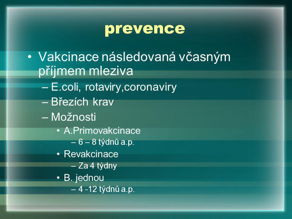 prevence Vakcinace následovaná včasným příjmem mleziva