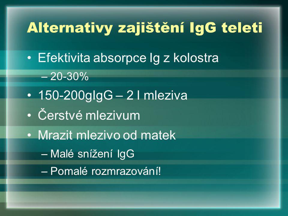 Alternativy zajištění IgG teleti