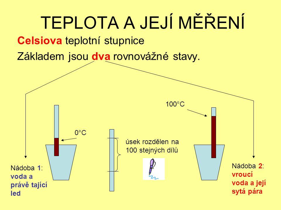Celsiova teplotní stupnice Základem jsou dva rovnovážné stavy.