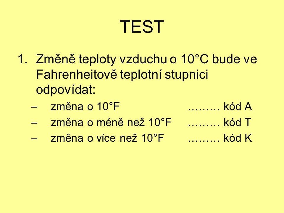 TEST Změně teploty vzduchu o 10°C bude ve Fahrenheitově teplotní stupnici odpovídat: změna o 10°F ……… kód A.