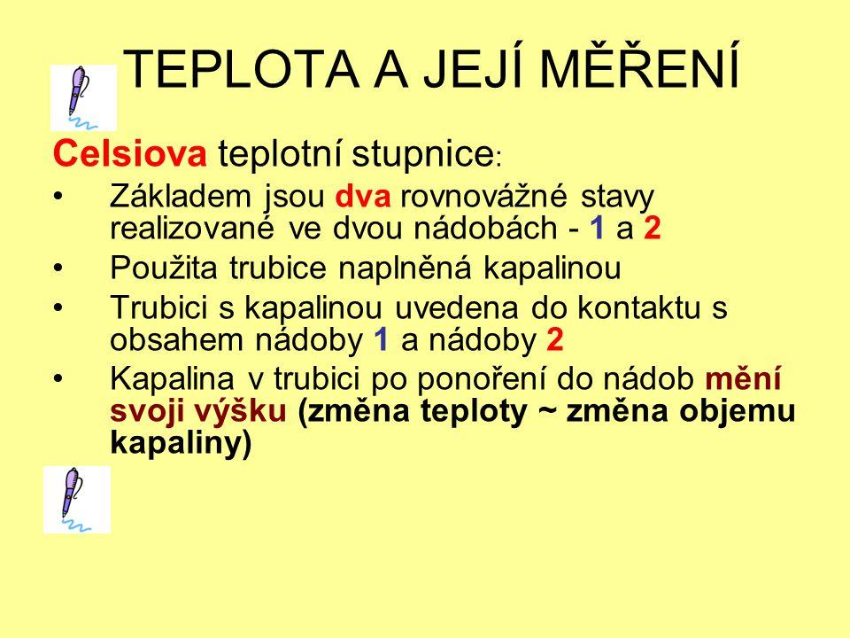 TEPLOTA A JEJÍ MĚŘENÍ Celsiova teplotní stupnice: