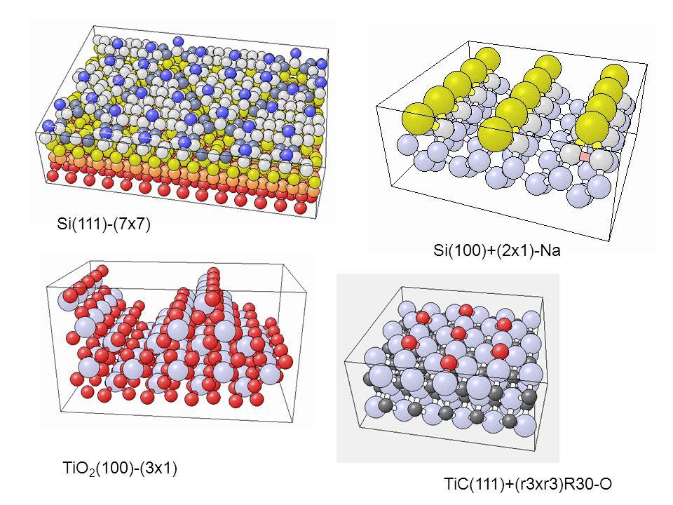 Si(111)-(7x7) Si(100)+(2x1)-Na TiO2(100)-(3x1) TiC(111)+(r3xr3)R30-O