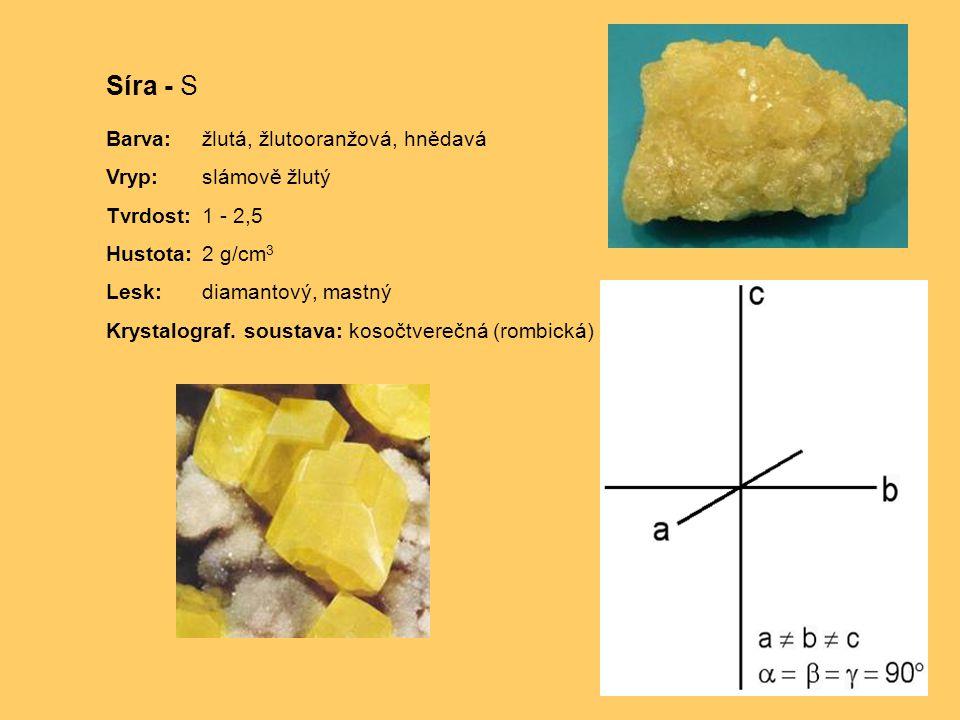 Síra - S Barva: žlutá, žlutooranžová, hnědavá Vryp: slámově žlutý