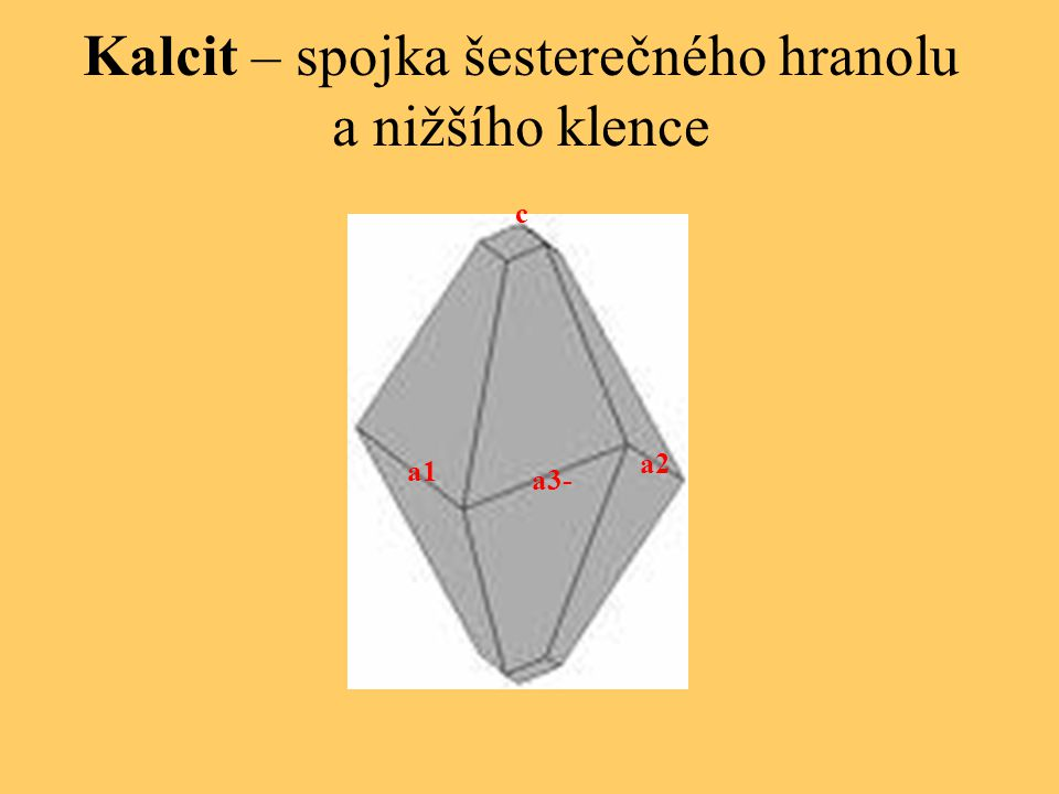 Kalcit – spojka šesterečného hranolu a nižšího klence