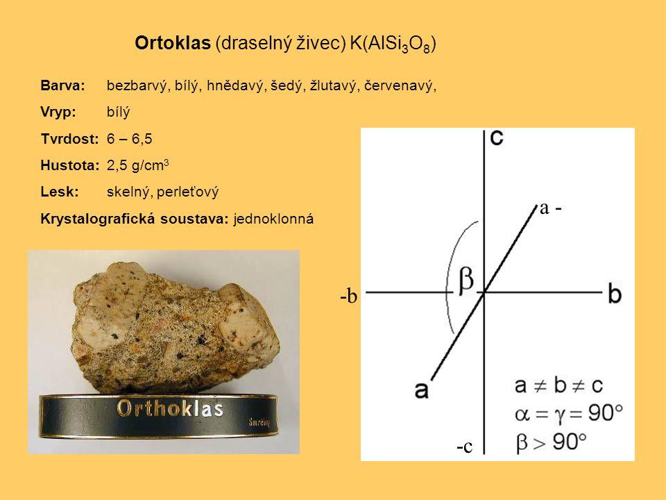 a - -b -c Ortoklas (draselný živec) K(AlSi3O8)