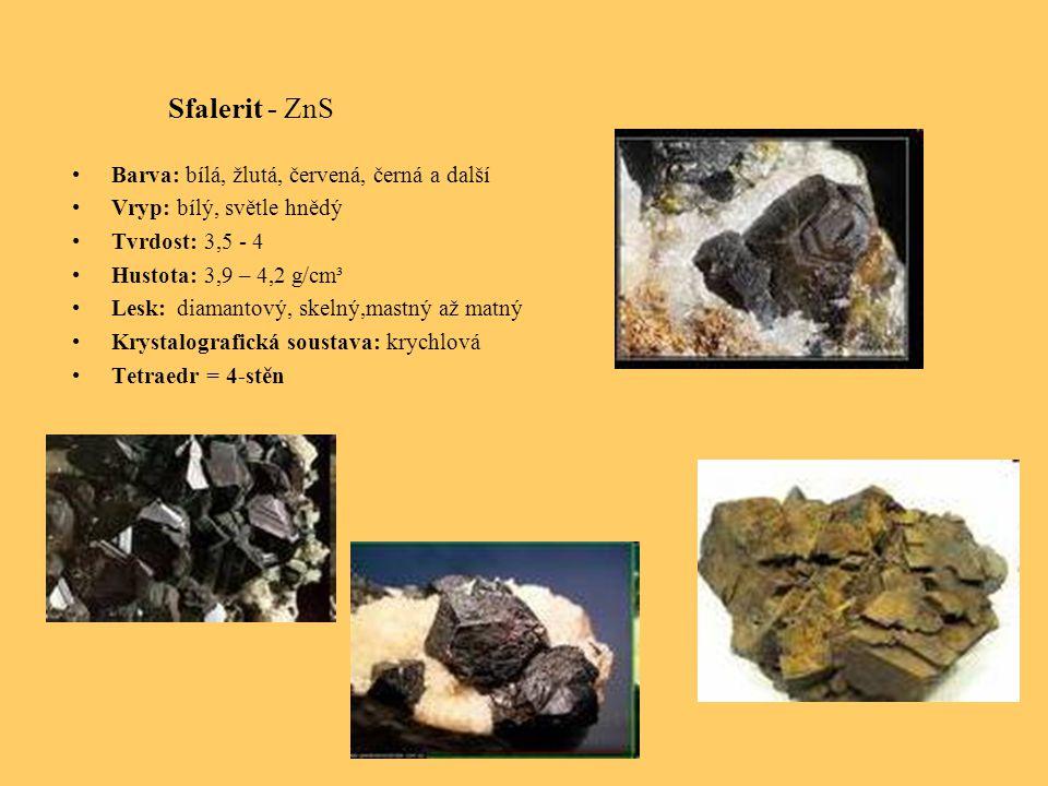 Sfalerit - ZnS Barva: bílá, žlutá, červená, černá a další