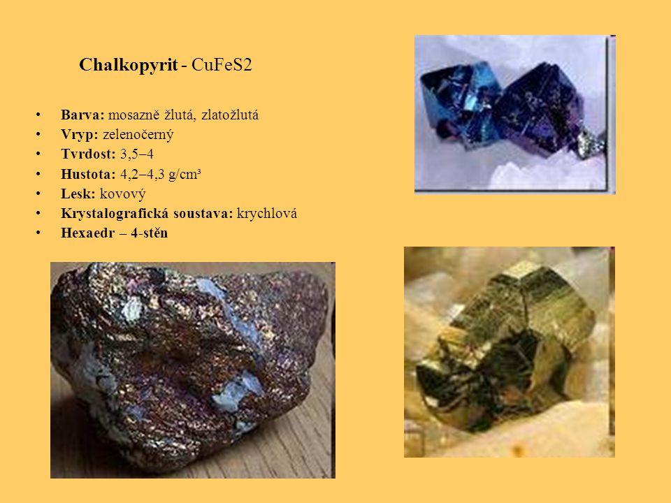 Chalkopyrit - CuFeS2 Barva: mosazně žlutá, zlatožlutá