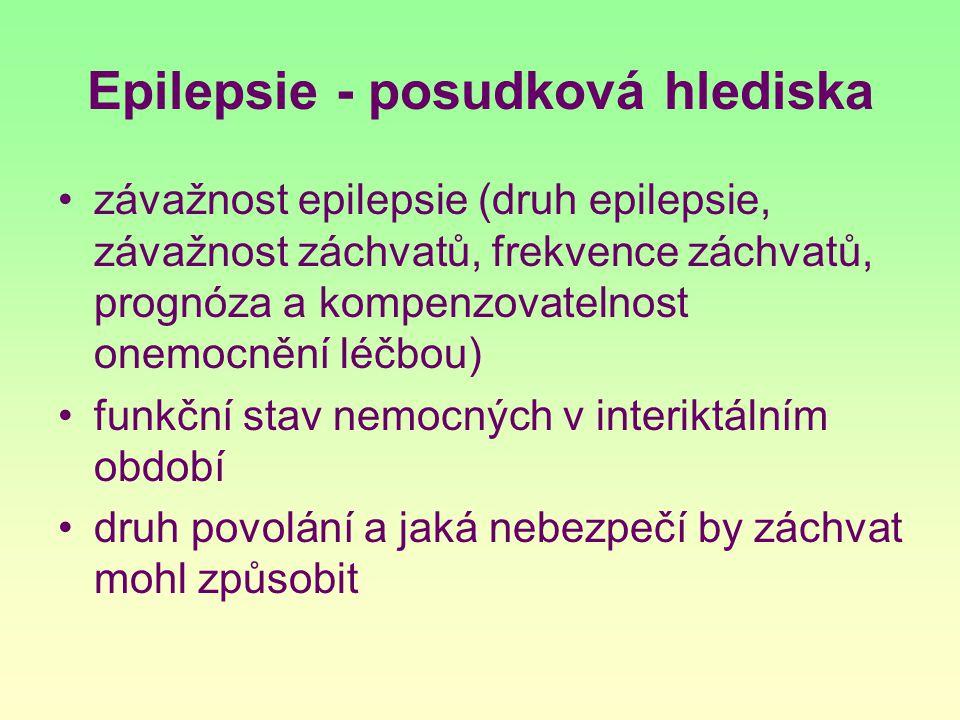 Epilepsie - posudková hlediska