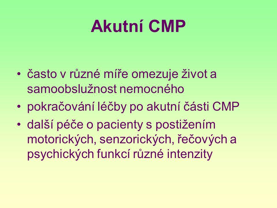 Akutní CMP často v různé míře omezuje život a samoobslužnost nemocného