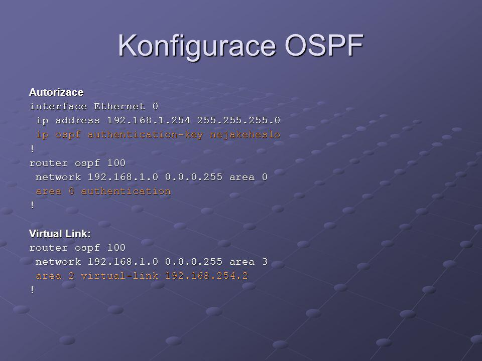 Konfigurace OSPF Autorizace interface Ethernet 0