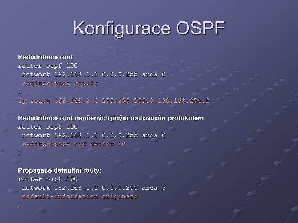 Konfigurace OSPF Redistribuce rout router ospf 100