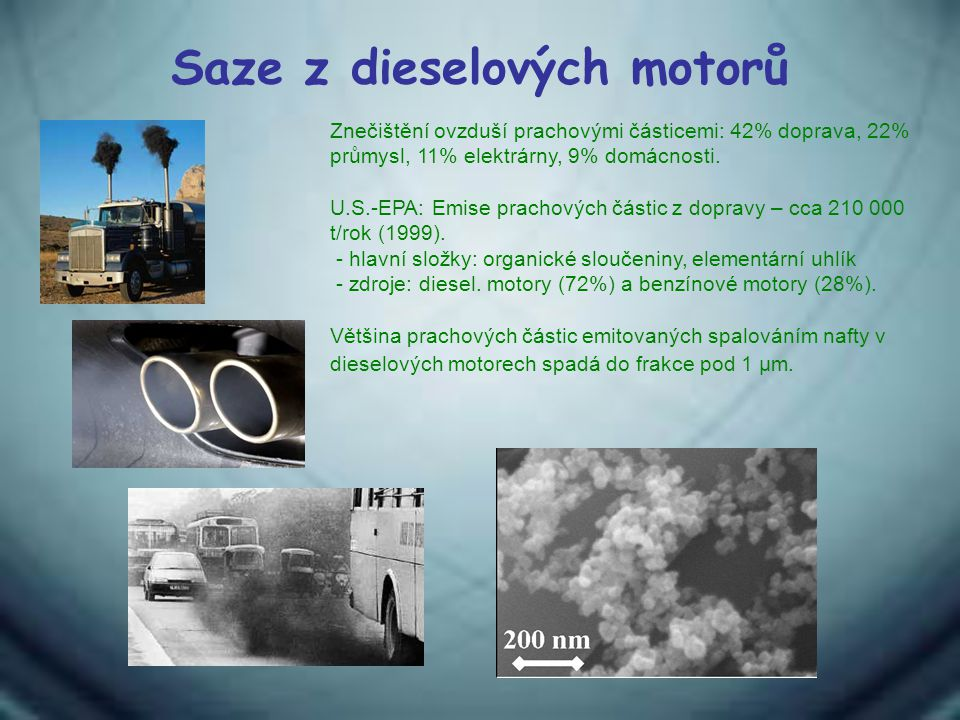 Saze z dieselových motorů