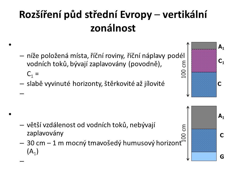 Rozšíření půd střední Evropy – vertikální zonálnost
