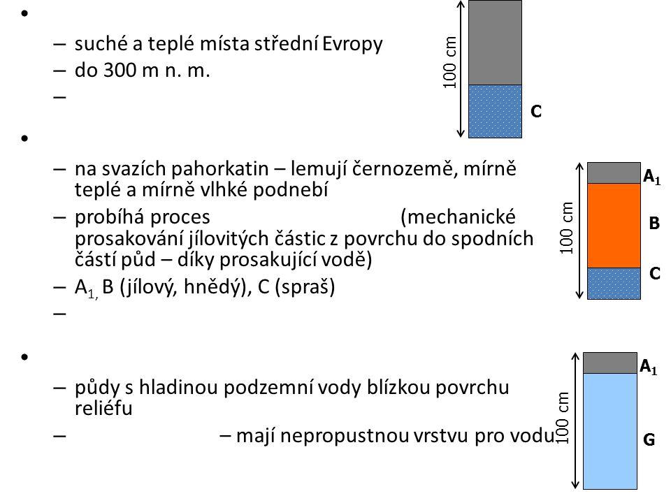 suché a teplé místa střední Evropy do 300 m n. m.