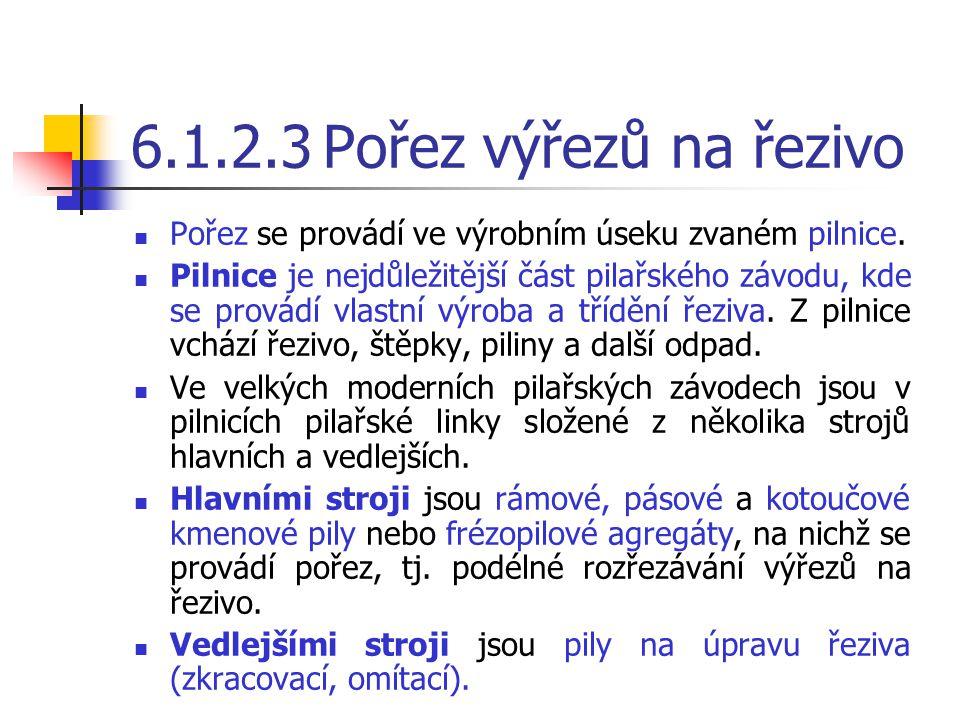 6.1.2.3 Pořez výřezů na řezivo Pořez se provádí ve výrobním úseku zvaném pilnice.