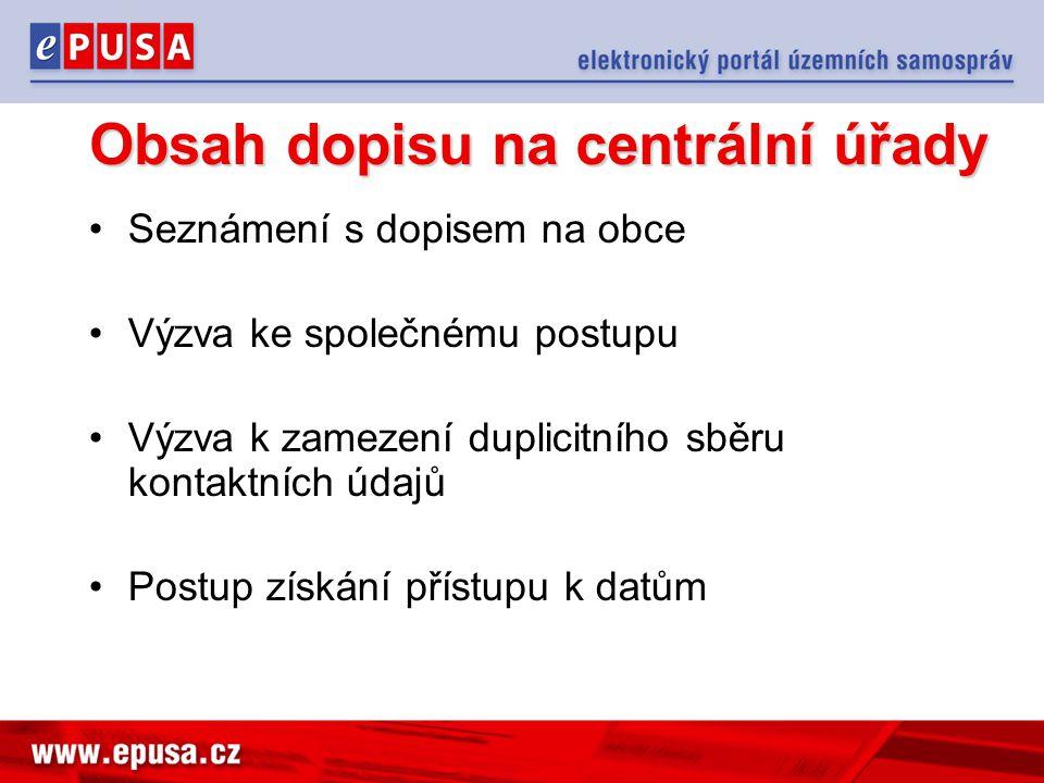 Obsah dopisu na centrální úřady