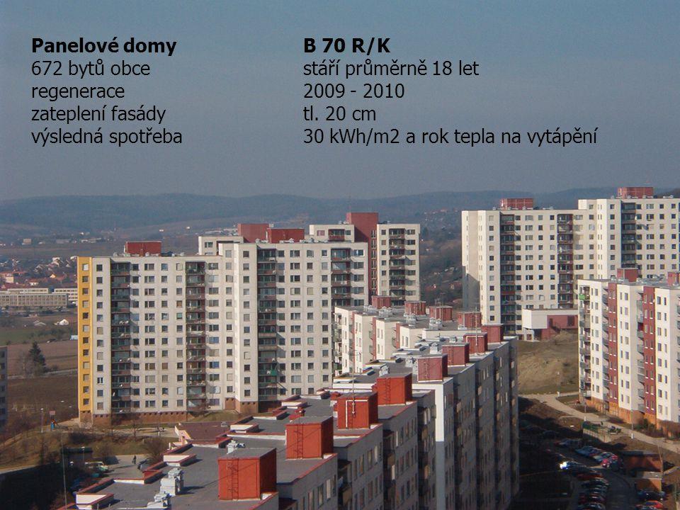 Panelové domy B 70 R/K 672 bytů obce stáří průměrně 18 let. regenerace 2009 - 2010. zateplení fasády tl. 20 cm.