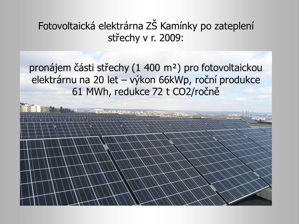 Fotovoltaická elektrárna ZŠ Kamínky po zateplení střechy v r. 2009: