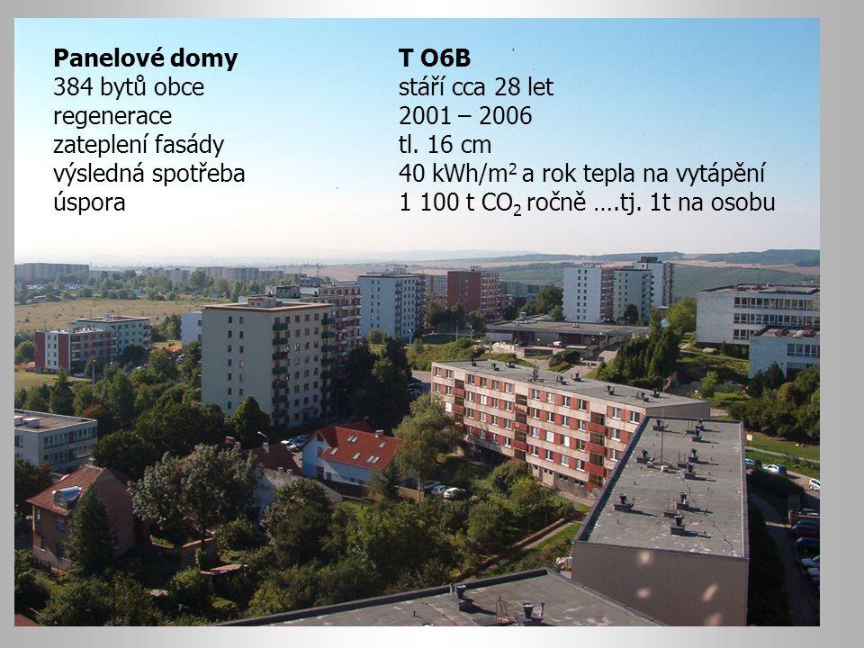 Panelové domy T O6B 384 bytů obce stáří cca 28 let. regenerace 2001 – 2006. zateplení fasády tl. 16 cm.