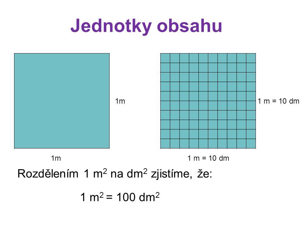 Jednotky obsahu Rozdělením 1 m2 na dm2 zjistíme, že: 1 m2 = 100 dm2 1m