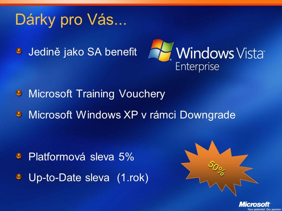 Dárky pro Vás... Jedině jako SA benefit Microsoft Training Vouchery