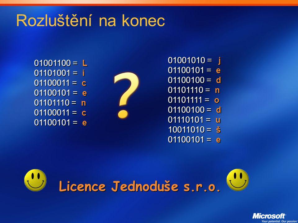 Rozluštění na konec Licence Jednoduše s.r.o. 01001010 = j 01001100 = L