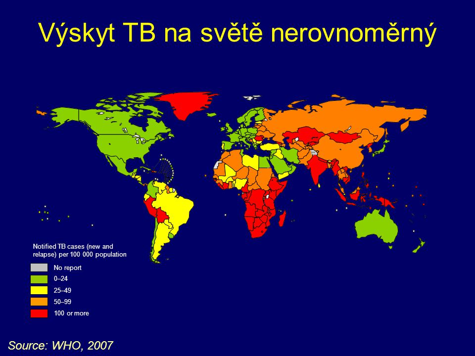 Výskyt TB na světě nerovnoměrný