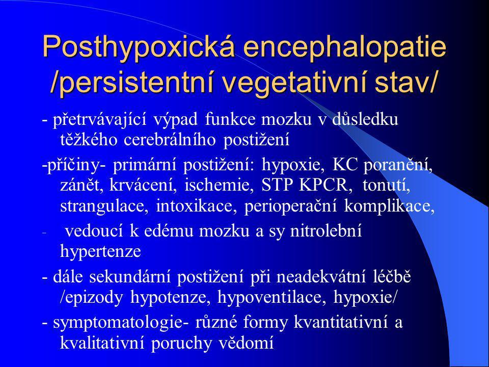 Posthypoxická encephalopatie /persistentní vegetativní stav/