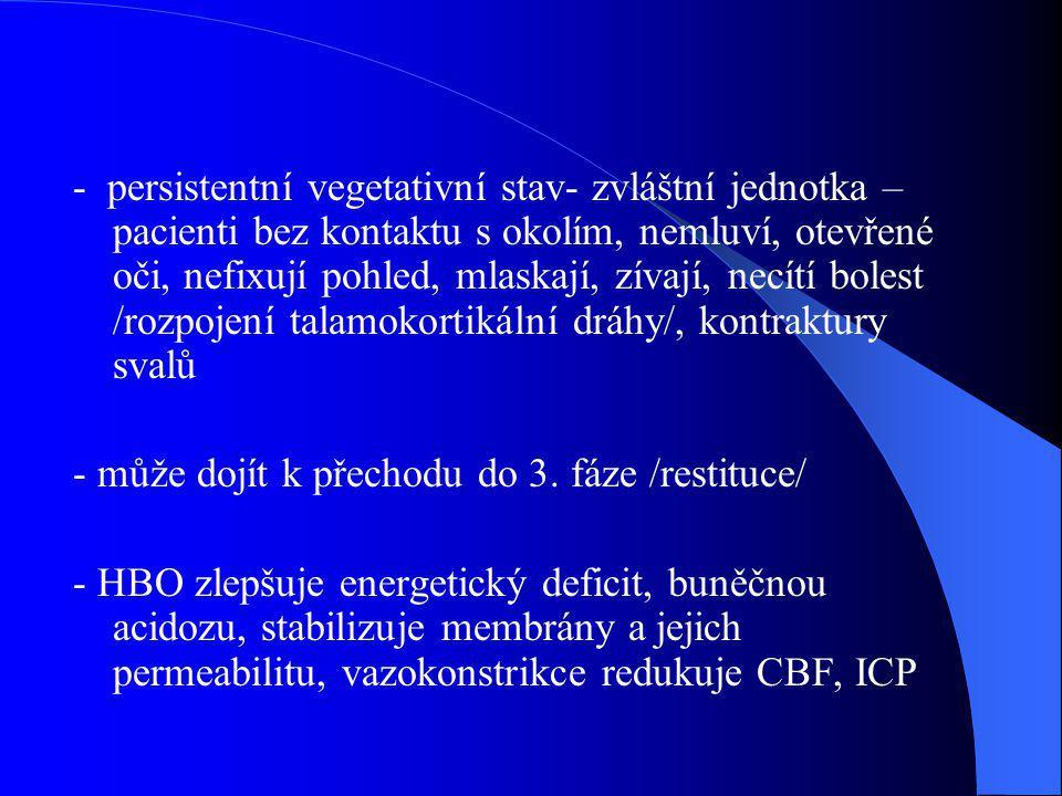 - persistentní vegetativní stav- zvláštní jednotka – pacienti bez kontaktu s okolím, nemluví, otevřené oči, nefixují pohled, mlaskají, zívají, necítí bolest /rozpojení talamokortikální dráhy/, kontraktury svalů
