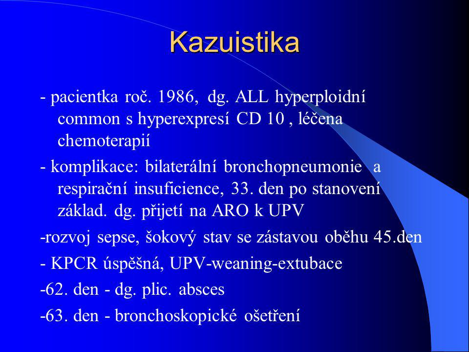 Kazuistika - pacientka roč. 1986, dg. ALL hyperploidní common s hyperexpresí CD 10 , léčena chemoterapií.