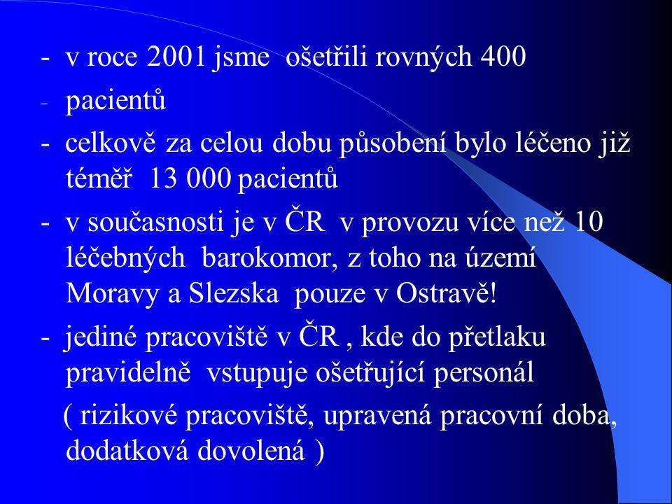 - v roce 2001 jsme ošetřili rovných 400