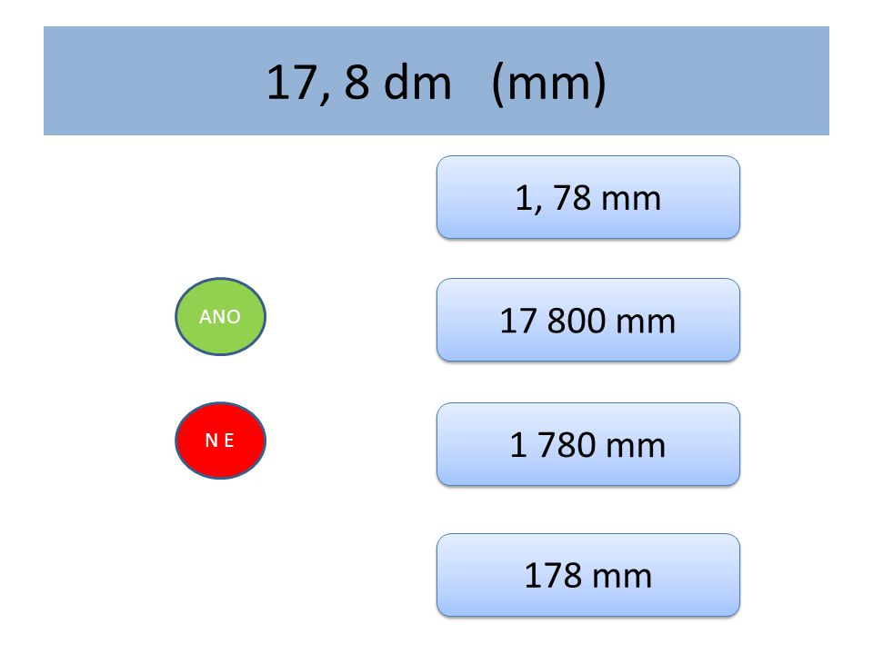 17, 8 dm (mm) 1, 78 mm ANO 17 800 mm N E 1 780 mm 178 mm