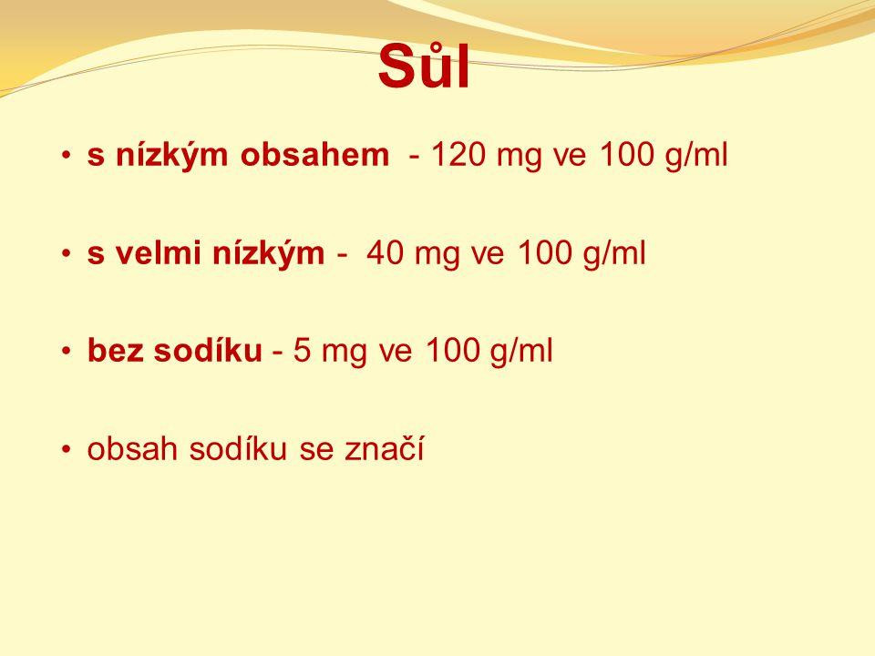 Sůl s nízkým obsahem - 120 mg ve 100 g/ml