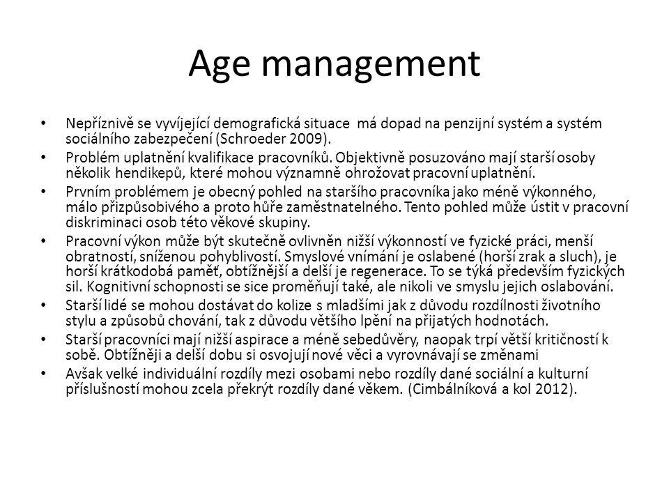 Age management Nepříznivě se vyvíjející demografická situace má dopad na penzijní systém a systém sociálního zabezpečení (Schroeder 2009).