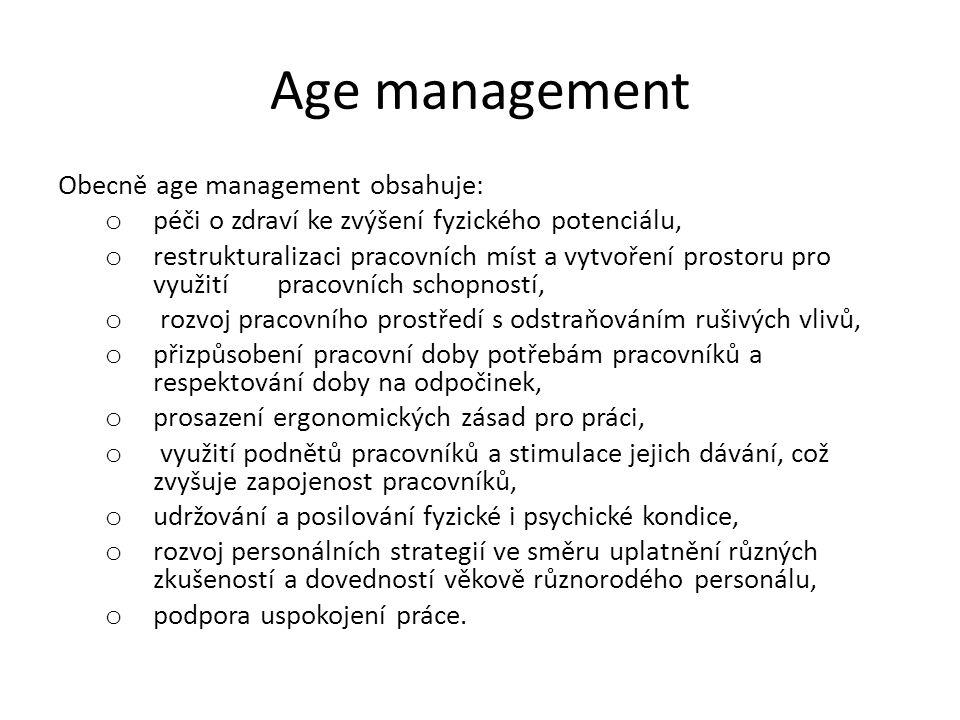 Age management Obecně age management obsahuje: