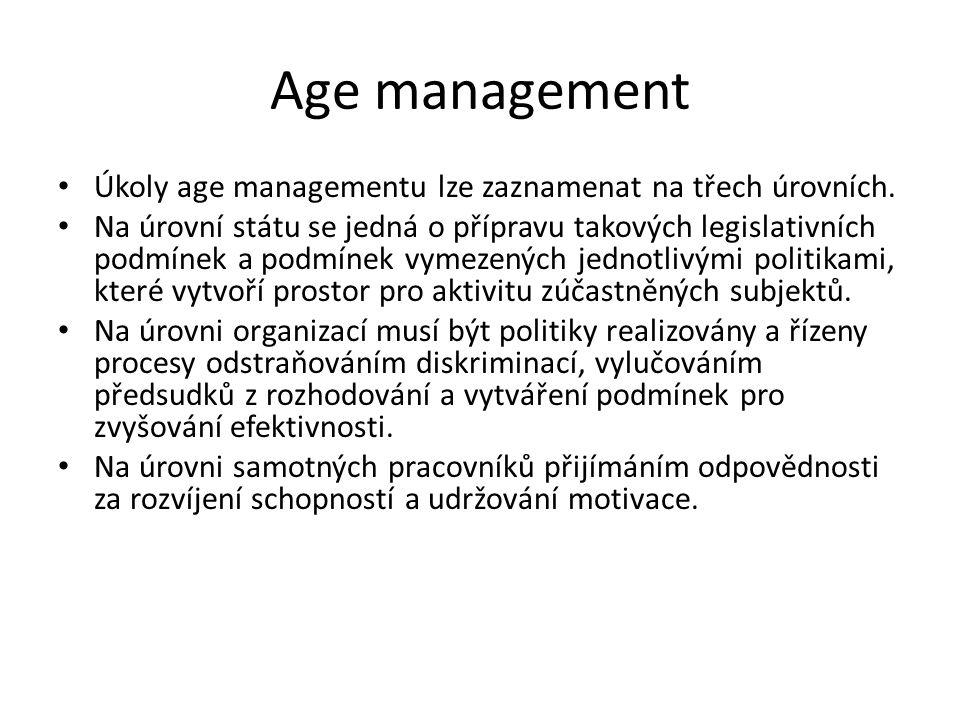 Age management Úkoly age managementu lze zaznamenat na třech úrovních.