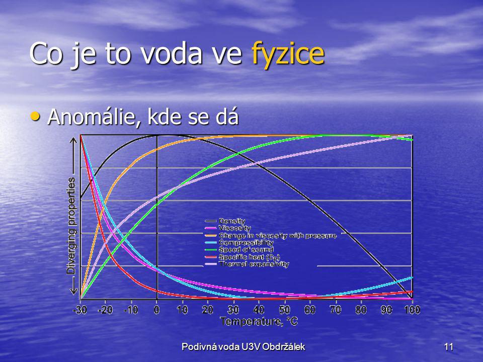 Co je to voda ve fyzice Anomálie, kde se dá Podivná voda U3V Obdržálek