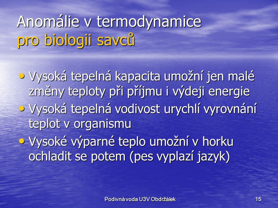 Anomálie v termodynamice pro biologii savců