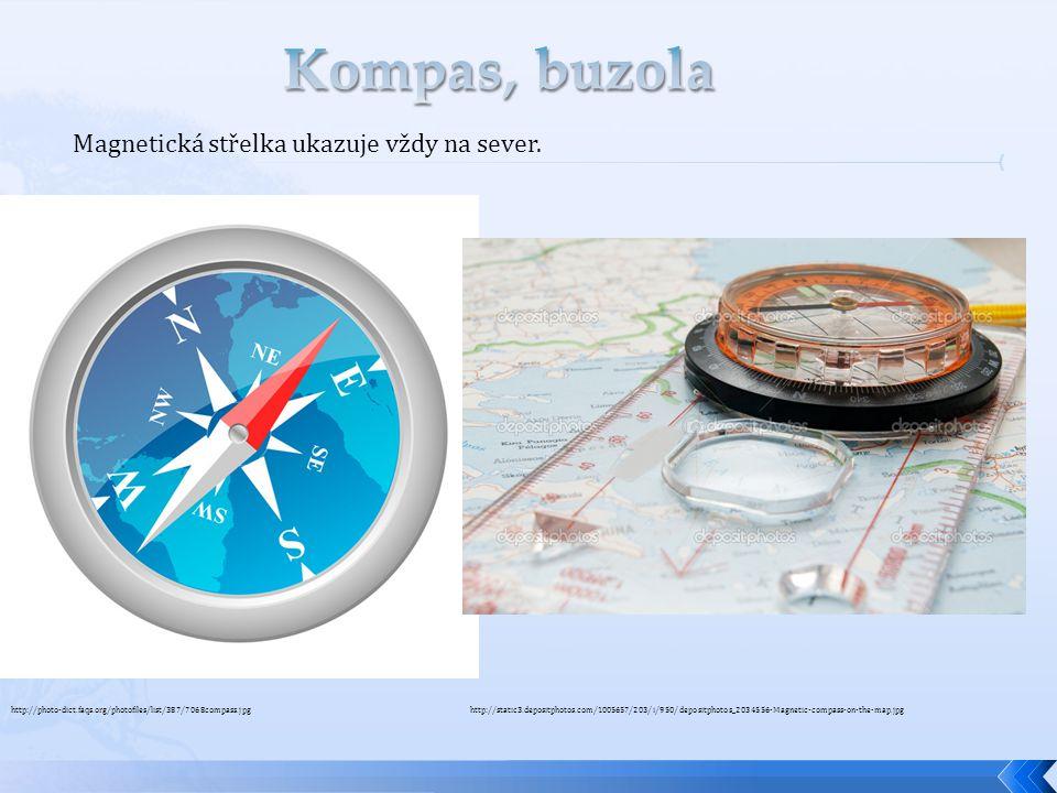 Kompas, buzola Magnetická střelka ukazuje vždy na sever.