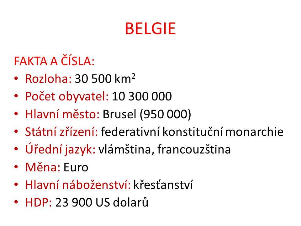 BELGIE FAKTA A ČÍSLA: Rozloha: 30 500 km2 Počet obyvatel: 10 300 000