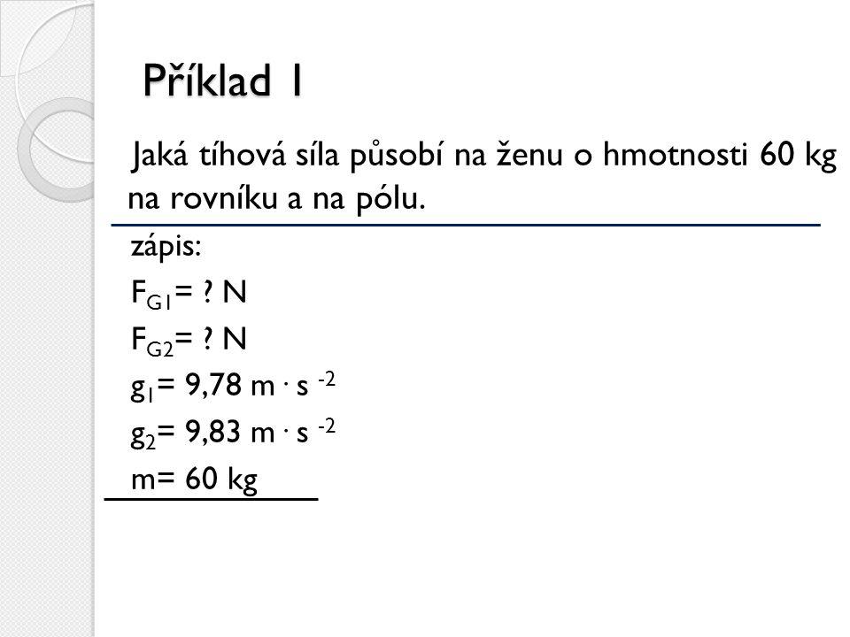 Příklad 1 Jaká tíhová síla působí na ženu o hmotnosti 60 kg na rovníku a na pólu. zápis: FG1= N.