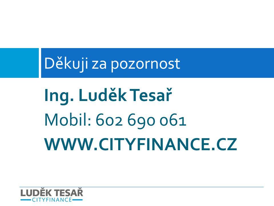 Ing. Luděk Tesař Mobil: 602 690 061 WWW.CITYFINANCE.CZ