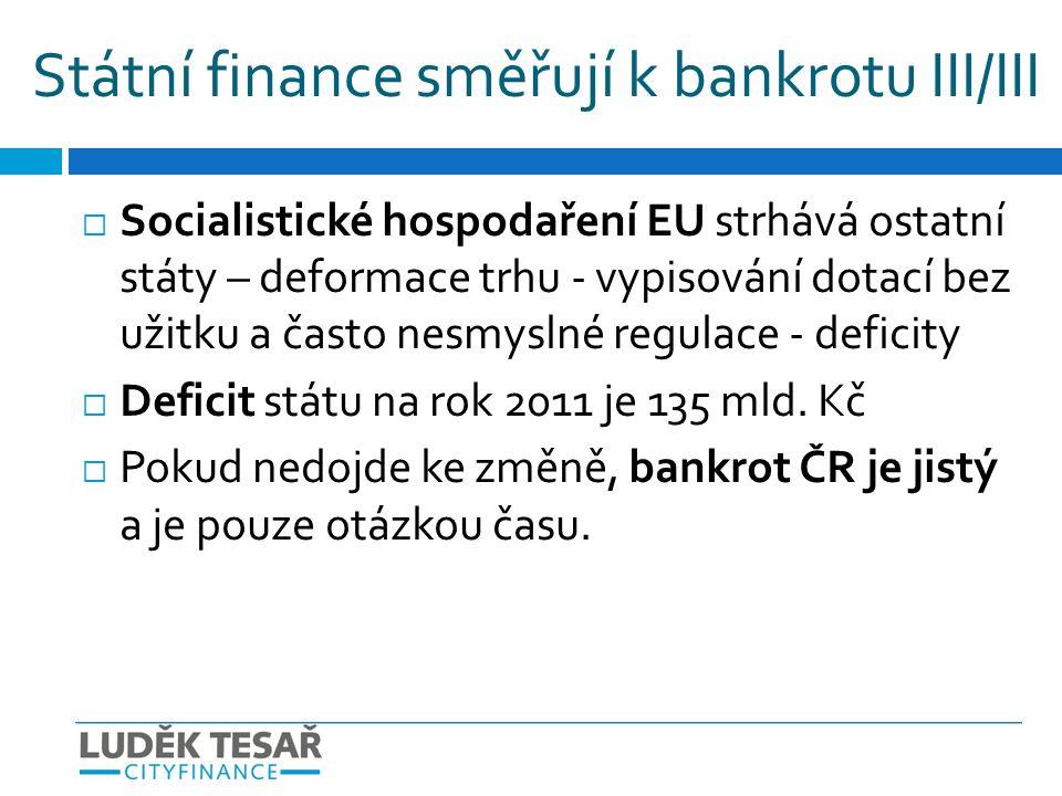 Státní finance směřují k bankrotu III/III