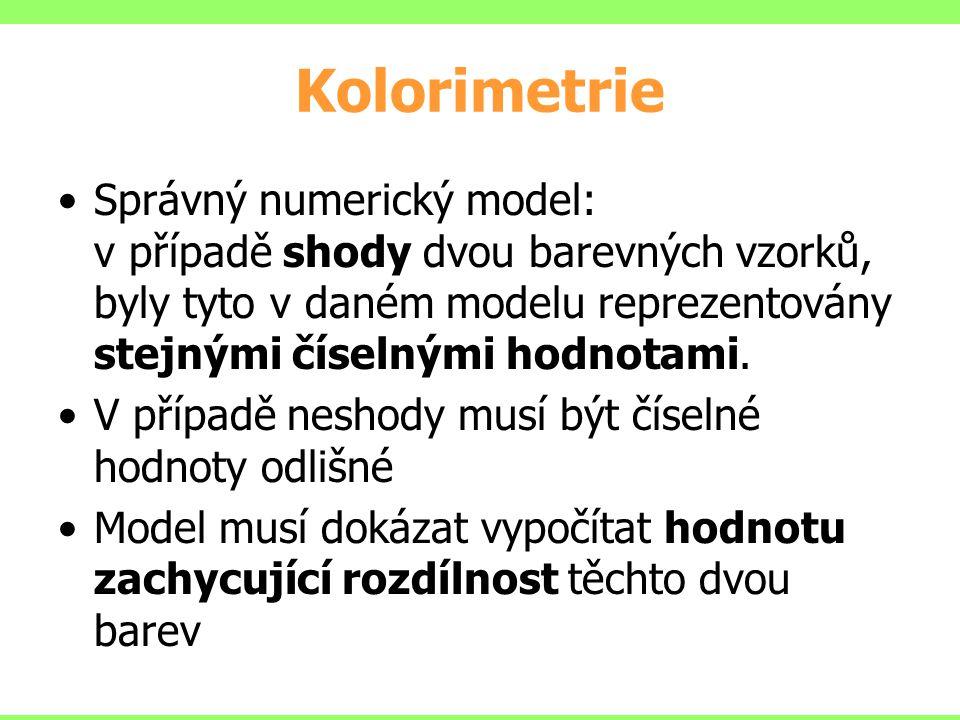 Kolorimetrie Správný numerický model: v případě shody dvou barevných vzorků, byly tyto v daném modelu reprezentovány stejnými číselnými hodnotami.
