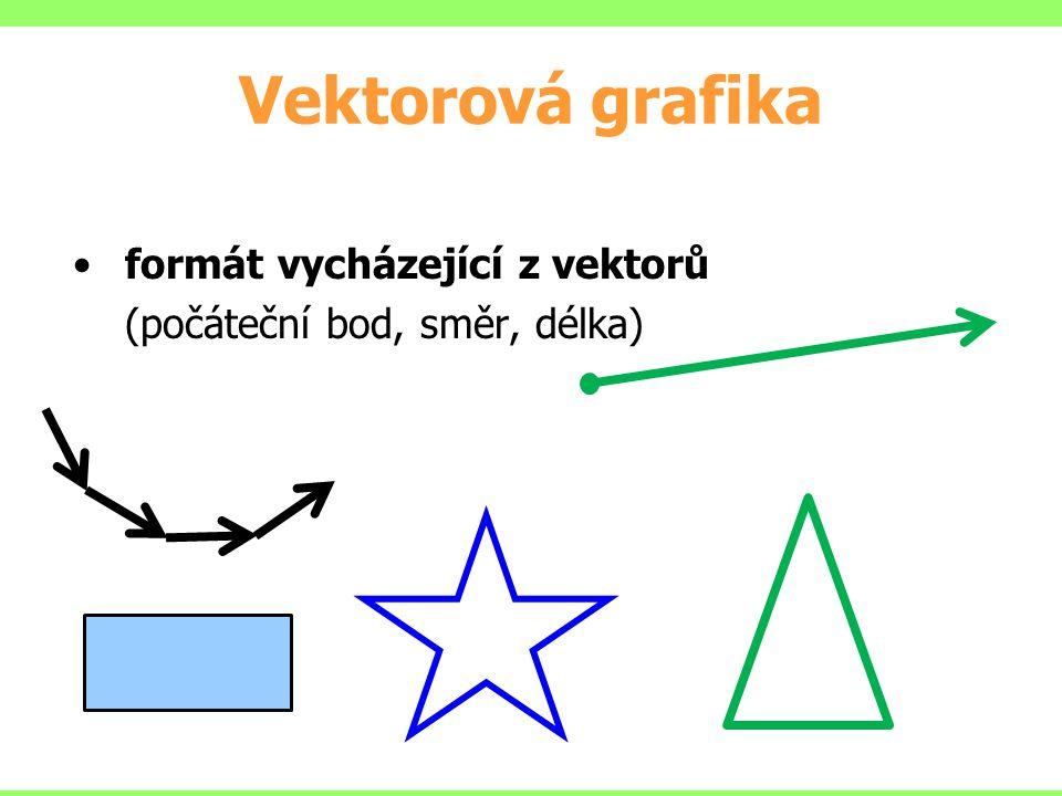 Vektorová grafika formát vycházející z vektorů (počáteční bod, směr, délka)