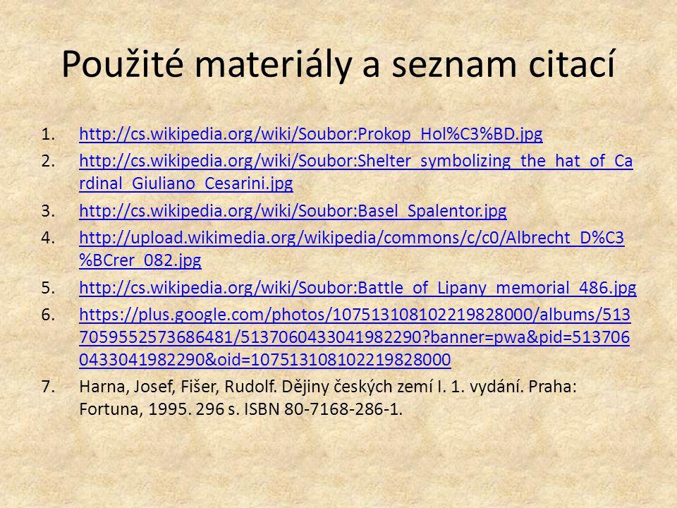 Použité materiály a seznam citací
