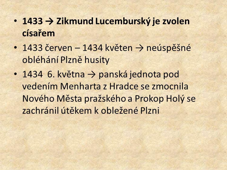1433 → Zikmund Lucemburský je zvolen císařem