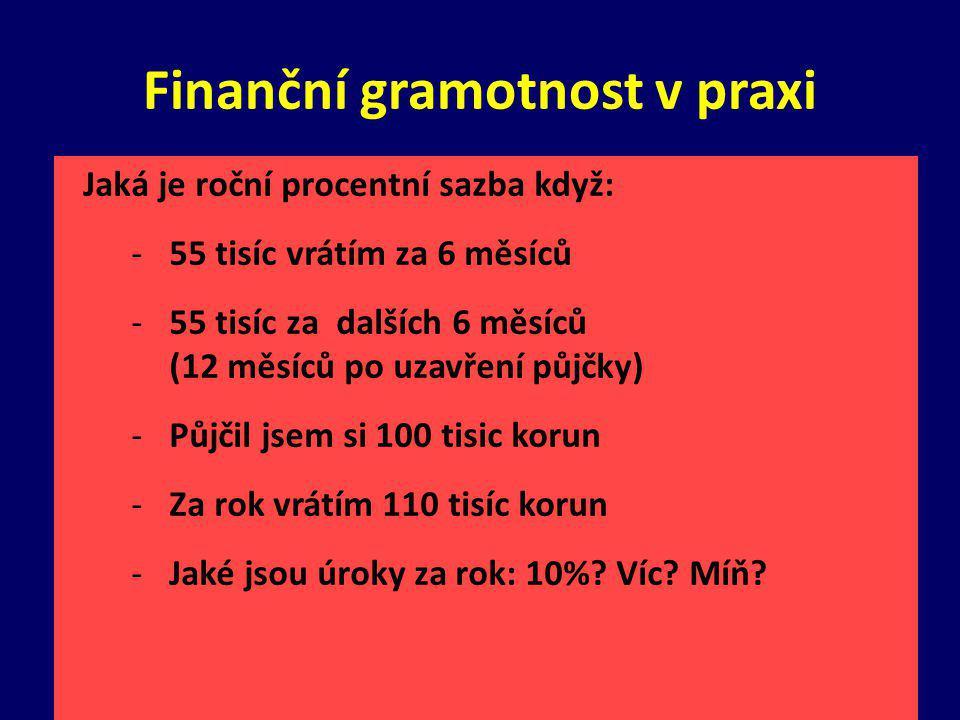 Finanční gramotnost v praxi